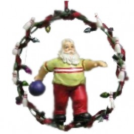 Bowling Santa Wreath Ornament