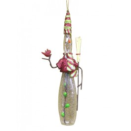 Glass Snowman Bowling Pin Ornament
