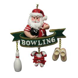 """Santa """"Bowling"""" Banner Ornament"""