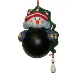 Bowling Ball Snowman Ornament