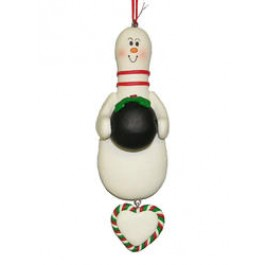 Bowling Pin with Dangling Heart Ornament