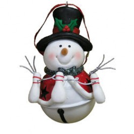 Top Hat Jingle Bell Snowman Ornament