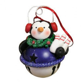 Earmuff Jingle Bell Penguin Bowling Ornament