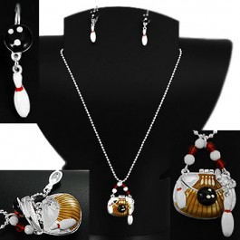 Bowling Purse Pendant & Earrings