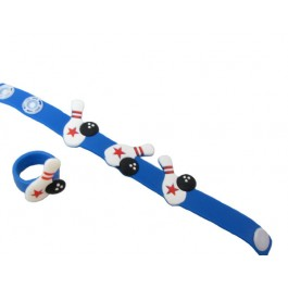 Blue Rubber Bowling Bracelet and Ring Set