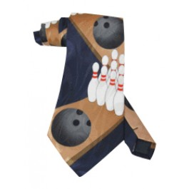 Blue Bowling Necktie with zigzag pins and balls