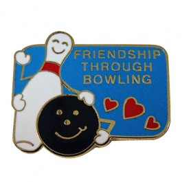 Friendship Through Bowling Lapel Pin