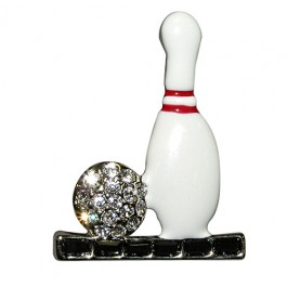 Enamel Pin and Crystal Ball Bowling Pin