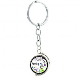 Bowling Pins Rotatable Swivel Keychain