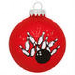 Red Strike Bowling Glass Ornament