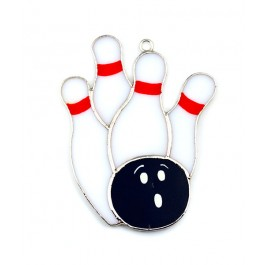 Bowling Pins & Ball Stained Glass Sun Catcher/Ornament