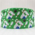 Bowling Design Printed Green Ribbon - 10 feet