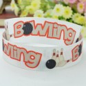 Bowling Design Printed White Ribbon - 10 feet