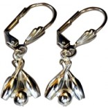 Crossed Bowling Pins Dangling Earrings - Silvertone