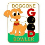 Doggone Bowler Lapel Pin