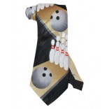 Black Bowling Necktie with zigzag pins and balls