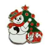 Bowling Snowman Lapel Pin