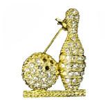 Goldtone Rhinestone Crystal Bowling Pin