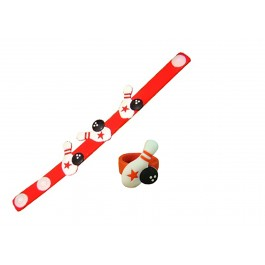 Red Rubber Bowling Bracelet and Ring Set