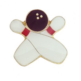 Crossed Bowling Pins and Ball Lapel Pin