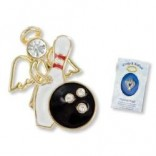 Wings & Wishes Bowling Angel Lapel Pin