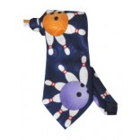 Blue Bowling Tie with Pin Splash
