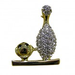 Goldtone Crystal Bowling Pin